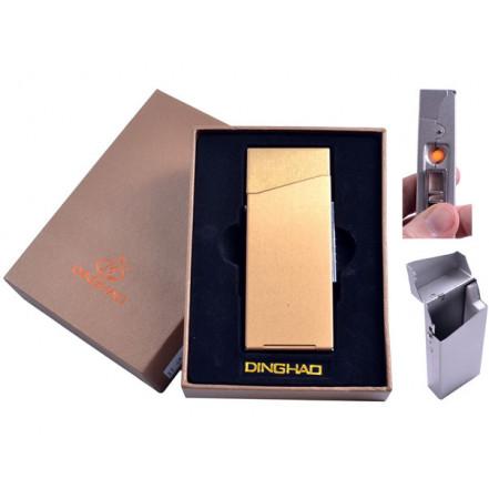 Портсигар + USB зажигалка 4840-Gold (Сигаретная пачка Slim,спираль накаливания) *
