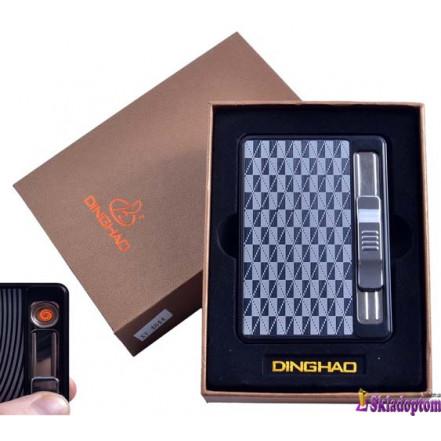 Портсигар + USB зажигалка с подачей сигарет 4844-2 (На 10 сигарет,спираль накаливания)