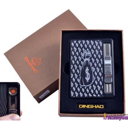 Портсигар + USB зажигалка с подачей сигарет 4844-3 (На 10 сигарет,спираль накаливания)