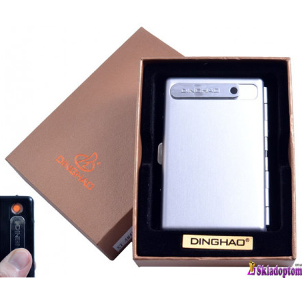 Портсигар + USB зажигалка 4846-Silver (На 10 сигарет, спираль накаливания) *