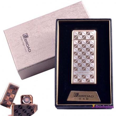USB зажигалка в подарочной упаковке BROAD 4850-2 (Двухсторонняя спираль накаливания)
