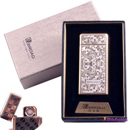 USB зажигалка в подарочной упаковке BROAD 4850-3 (Двухсторонняя спираль накаливания)