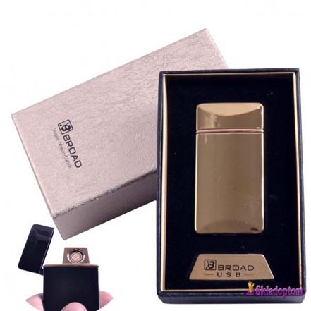 USB зажигалка в подарочной упаковке 4851-Gold (Broad, двухсторонняя спираль накаливания)