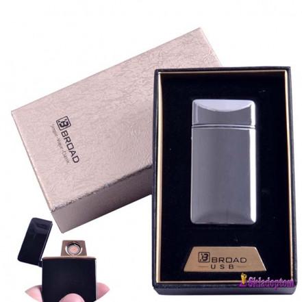 USB зажигалка в подарочной упаковке 4851-Silver (Broad, двухсторонняя спираль накаливания)