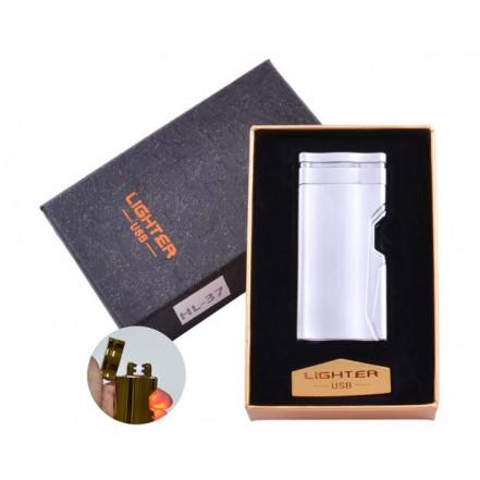 USB зажигалка в подарочной коробке Lighter HL-37 Silver (Электроимпульсная, двойная дуга)