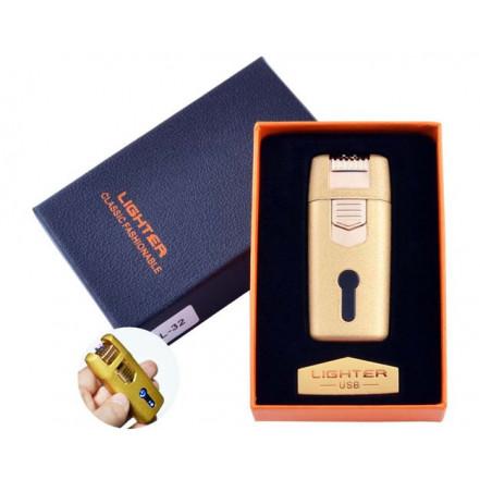 USB зажигалка в подарочной коробке Lighter HL-32 Gold (Электроимпульсная, двойная дуга)