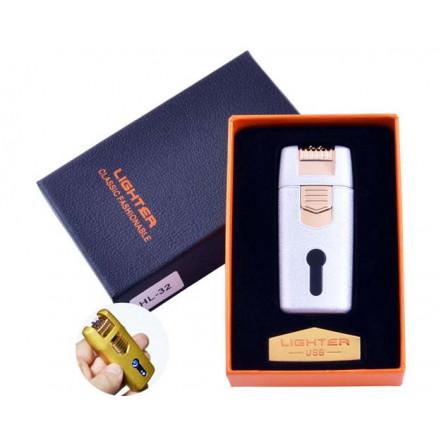 USB зажигалка в подарочной коробке Lighter HL-32 White (Электроимпульсная, двойная дуга)