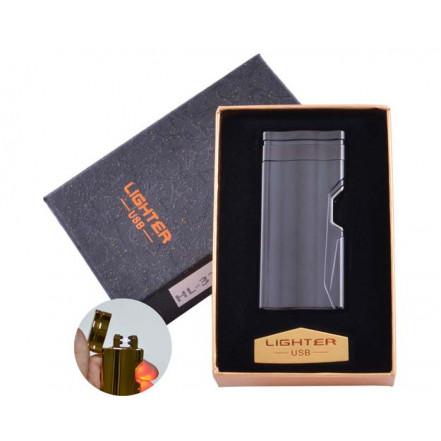 USB зажигалка в подарочной коробке Lighter HL-37 Black (Электроимпульсная, двойная дуга)