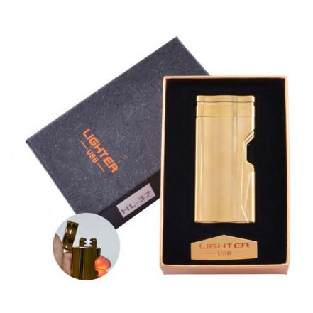 USB зажигалка в подарочной коробке Lighter HL-37 Gold (Электроимпульсная, двойная дуга)