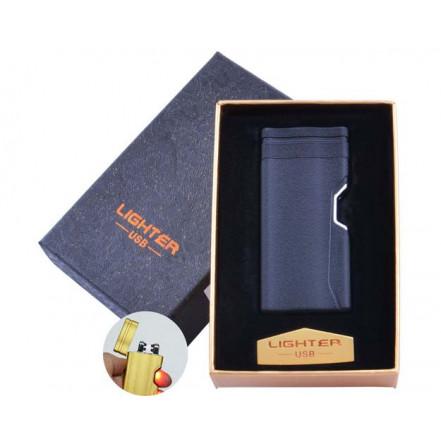 USB зажигалка в подарочной коробке Lighter HL-38 Black (Электроимпульсная, двойная дуга)