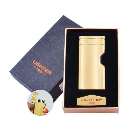 USB зажигалка в подарочной коробке Lighter HL-38 Gold (Электроимпульсная, двойная дуга)