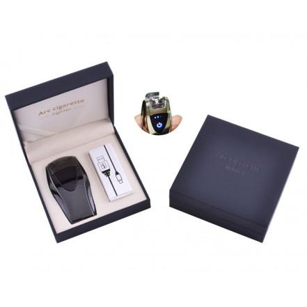 USB зажигалка в подарочной коробке ArcCigarette HL-39 Black (Электроимпульсная, двойная дуга)