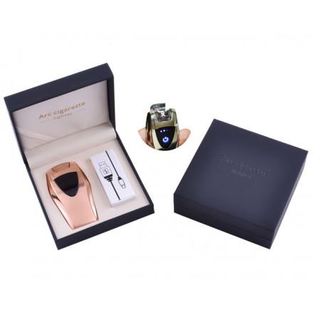 USB зажигалка в подарочной коробке ArcCigarette HL-39 Gold (Электроимпульсная, двойная дуга)