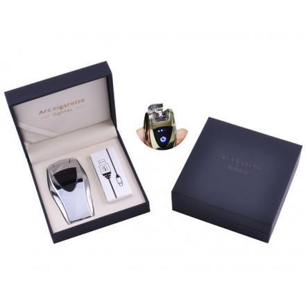 USB зажигалка в подарочной коробке ArcCigarette HL-39 Silver (Электроимпульсная, двойная дуга)