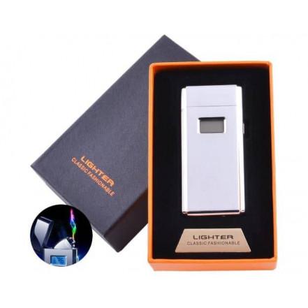 Электроимпульсная зажигалка в подарочной коробке Lighter 5005 Silver