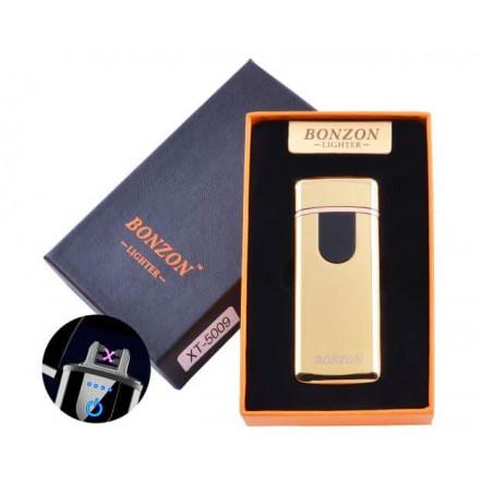 Электроимпульсная зажигалка в подарочной коробке Lighter 5009 Gold