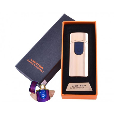 USB зажигалка в подарочной коробке Lighter HL-42 Gold (Спираль накаливания)