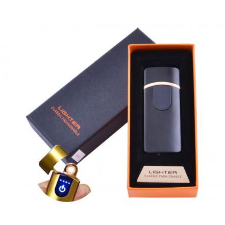 USB зажигалка в подарочной коробке Lighter HL-43 Black (Спираль накаливания)