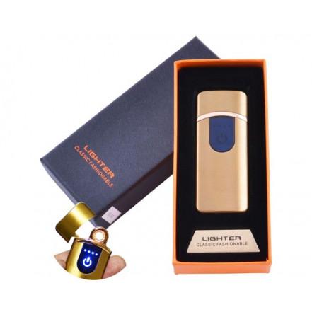 USB зажигалка в подарочной коробке Lighter HL-43 Gold (Спираль накаливания)
