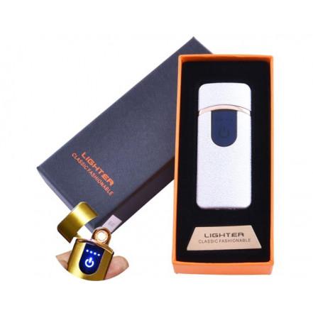 USB зажигалка в подарочной коробке Lighter HL-43 White (Спираль накаливания)