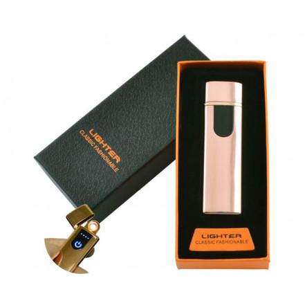 USB зажигалка в подарочной коробке Lighter HL-48 Gold (Спираль накаливания)