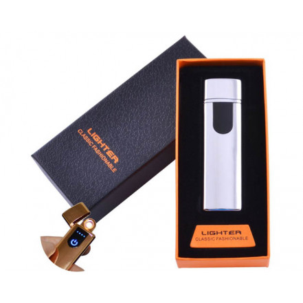 USB зажигалка в подарочной коробке Lighter HL-48 Silver (Спираль накаливания)
