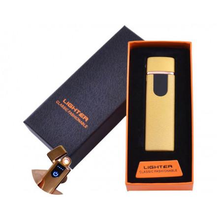 USB зажигалка в подарочной коробке Lighter HL-49 Gold (Спираль накаливания)