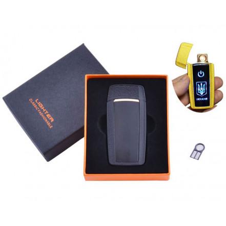 USB зажигалка в подарочной коробке Украина HL-56 Black (Спираль накаливания)