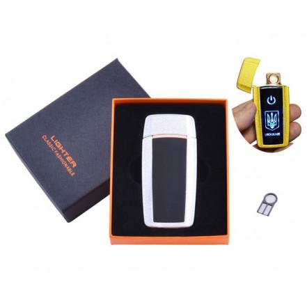 USB зажигалка в подарочной коробке Украина HL-56 White (Спираль накаливания)