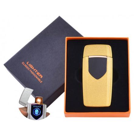 USB зажигалка в подарочной коробке Lighter HL-57 Gold (Спираль накаливания)