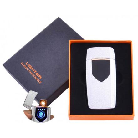 USB зажигалка в подарочной коробке Lighter HL-57 White (Спираль накаливания)