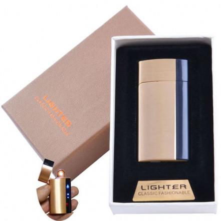 USB зажигалка в подарочной коробке Lighter 4981 Gold (Спираль накаливания)