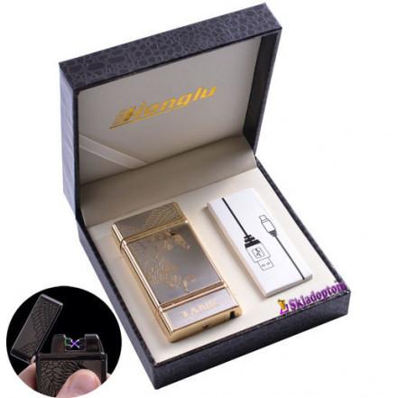 USB зажигалка в подарочной кожаной коробке 4842-1 (Электроимпульсная - две перекрещенные молнии)