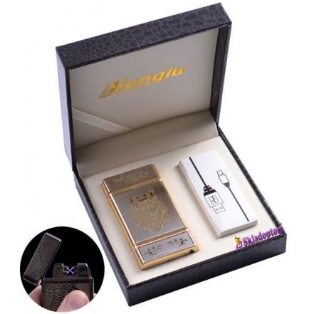 USB зажигалка в подарочной кожаной коробке 4842-3 (Электроимпульсная - две перекрещенные молнии)