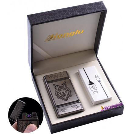 USB зажигалка в подарочной кожаной коробке 4842-4 (Электроимпульсная - две перекрещенные молнии)