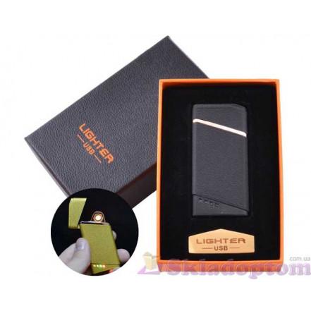 USB зажигалка в подарочной упаковке HL-18 Black (Спираль накаливания)