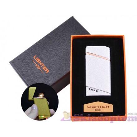 USB зажигалка в подарочной упаковке HL-18 Silver (Спираль накаливания)