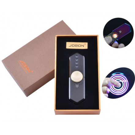 USB зажигалка-спиннер в подарочной упаковке Jobon HL-10 Black (Спираль накаливания)