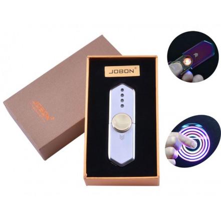 USB зажигалка-спиннер в подарочной упаковке Jobon HL-10 Silver (Спираль накаливания)