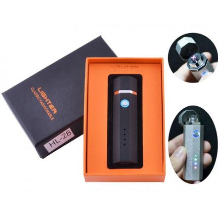 USB зажигалка в подарочной упаковке Lighter HL-28 Black (Электроимпульсная,Двойная молния)