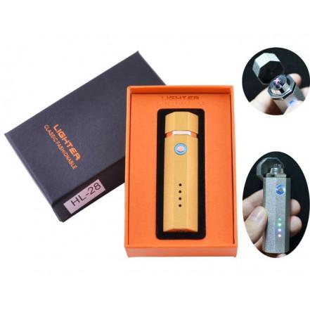 USB зажигалка в подарочной упаковке Lighter HL-28 Gold (Электроимпульсная,Двойная молния)