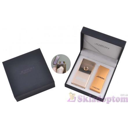 Электроимпульсная USB зажигалка Jobon (Gold) 4884-1 (Двойная молния)