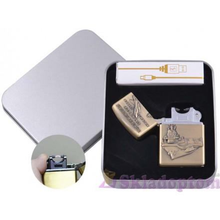 Электроимпульсная USB зажигалка в подарочной упаковке 4886-1 (Авианосец)