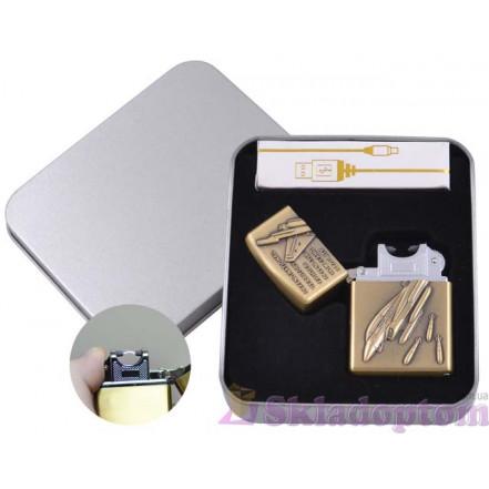 Электроимпульсная USB зажигалка в подарочной упаковке 4886-5 (Штурмовик)