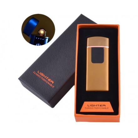USB зажигалка в подарочной коробке LIGHTER HL-132 Gold (Спираль накаливания)