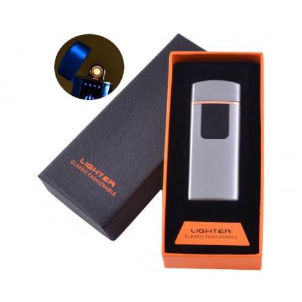 USB зажигалка в подарочной коробке LIGHTER HL-132 Silver (Спираль накаливания)