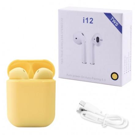 Беспроводные bluetooth-наушники i12 5.0 с кейсом, yellow