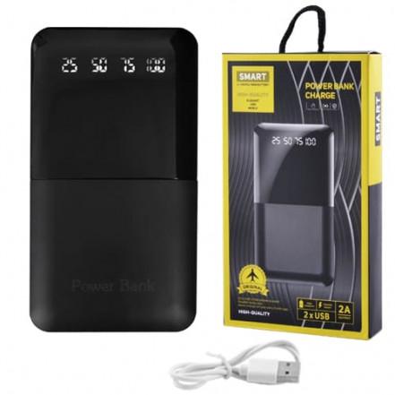 Power Bank JS-191 SMART CHARGE 10000mAh 2USB(1A+2A), цифровой дисплей с подсветкой, фонарик 2LED - (3600mAh)