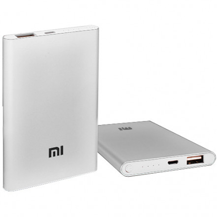 Power Bank MI Slim 5000mAh USB(2A), инд.зар. -100 (3600mAh)