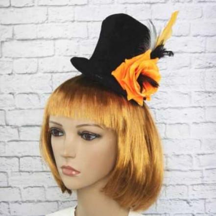 Шляпка на ободке Марди Гра с оранжевой розой 8947-021